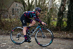 Tiffany Cromwell accross the cobbles at Drentse 8 van Westerveld 2018 - a 142 km road race on March 9, 2018, in Dwingeloo, Netherlands. (Photo by Sean Robinson/Velofocus.com)