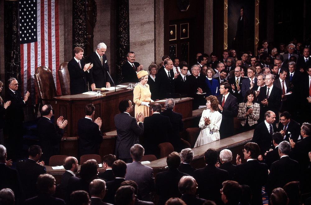 The Queen addresses Congress during a visit to Washinton DC, USA in May 1991. Photographed by Terry Fincher
