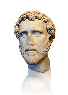 Roman portrait bust of Emperor Antoninus Pius, 138-161 AD. Titus Fulvius Aelius Hadrianus Antoninus Augustus Pius, also known as Antoninus, was Roman Emperor from 138 to 161. He was a member of the Nerva–Antonine dynasty and the Aurelii.[3]<br /> He acquired the name Pius after his accession to the throne, either because he compelled the Senate to deify his adoptive father Hadrian, or because he had saved senators sentenced to death by Hadrian in his later years. The National Roman Museum, Rome, Italy .<br /> <br /> If you prefer to buy from our ALAMY PHOTO LIBRARY  Collection visit : https://www.alamy.com/portfolio/paul-williams-funkystock/roman-museum-rome-sculpture.html<br /> <br /> Visit our ROMAN ART & HISTORIC SITES PHOTO COLLECTIONS for more photos to download or buy as wall art prints https://funkystock.photoshelter.com/gallery-collection/The-Romans-Art-Artefacts-Antiquities-Historic-Sites-Pictures-Images/C0000r2uLJJo9_s0