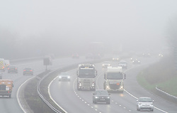 ©Licensed to London News Pictures 22/01/2020<br /> Swanley, UK. Motorists on the M25 near Swanley in Kent have reduced visibility due to fog. Freezing foggy weather conditions across the South East this morning as the cold weather continues. Photo credit: Grant Falvey/LNP
