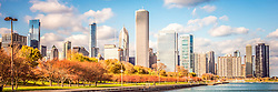 Beautiful Chicago Skyline panorama photo with Lake Michigan shoreline along Monroe Harbor and Grant Park in downtown Chicago. Colorful photo has HDR and toning applied. Panoramic photo ratio is 1:3. Image Copyright © Paul Velgos All Rights Reserved.