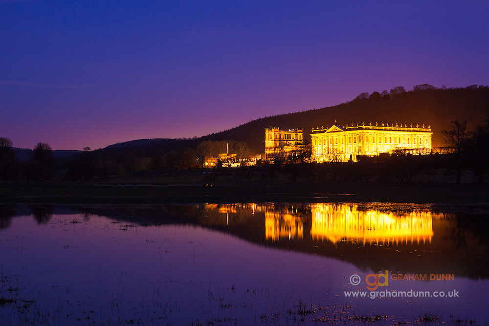 The 'Palace of the Peak', Chatsworth House, captured at dusk.