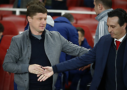 February 21, 2019 - London, Greater London, United Kingdom - L-R Alyaksey Baha manager of FC Bate Borisow and Unai Emery manager of Arsenal..during UEFA Europa League Round of 32 2nd Leg between Arsenal and of Bate Borisov at Emirates stadium , London, England on 20 Feb 2019. ..Credit Action Foto Sport. (Credit Image: © Action Foto Sport/NurPhoto via ZUMA Press)