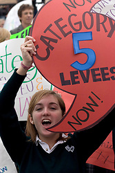 12 Jan 2006. New Orleans, Louisiana.  Post Katrina.<br /> School girls from the academy of the Sacred Heart protest the lack of effective levees in New Orleans as President George Bush comes to town. 18 yr old Coco Fraiche protests with her fellow students.<br /> Photo; Charlie Varley/varleypix.com
