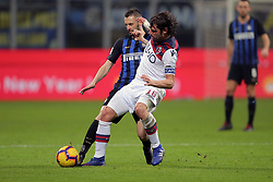 February 3, 2019 - Milan, Milan, Italy - Andrea Poli #16 of Bologna FC competes for the ball with Marcelo Brozovic #77 of FC Internazionale Milano during the serie A match between FC Internazionale and Bologna FC at Stadio Giuseppe Meazza on February 3, 2019 in Milan, Italy. (Credit Image: © Giuseppe Cottini/NurPhoto via ZUMA Press)