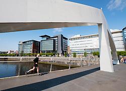 Tradeston Bridge , modern footbridge, crossing the River Clyde at Broomielaw in Glasgow United Kingdom