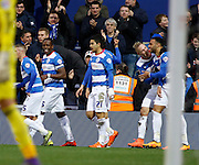 Queens Park Rangers midfielder and top goal scorer Matt Phillips Celebrates his goal with teammates during the Sky Bet Championship match between Queens Park Rangers and Ipswich Town at the Loftus Road Stadium, London, England on 6 February 2016. Photo by Andy Walter.