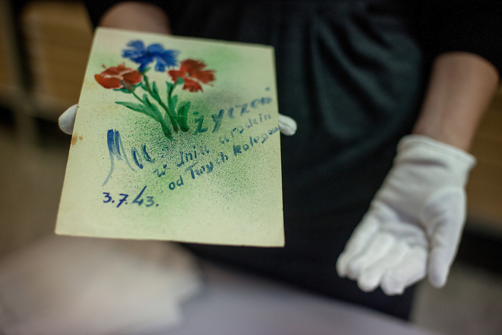 A postcard (backside) created by prisoners in the Auschwitz concentration camp for another prisoner in 1943. The owners of most of the objects can not be identified, but some belongings were after the war donated to the museum by former prisoners or their families.