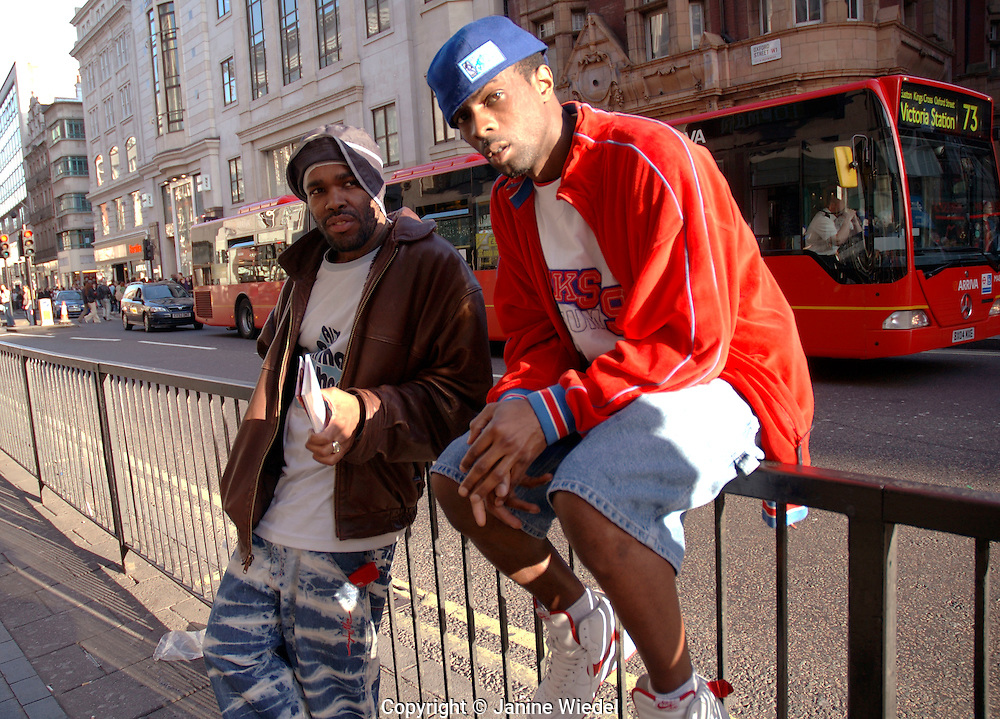 Rap artists hanging out in Oxford Street.