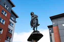 Glasgow, Scotland, UK. 7 October 2020. Time Out magazine has named Dennistoun in the East End of Glasgow as one of the world's coolest districts. Pictured;  Statue of William F Cody or Buffalo Bill  that commemorates him bringing his Wild West Show to Dennistoun in 1891. Iain Masterton/Alamy Live News