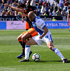 MADRID, April 2, 2018  Leganes' Nordin Amrabat (R) vies for the ball during the Spanish league match between CD Leganes and Valencia CF in Madrid, in Madrid, Spain, on April 1, 2018. Valencia won 1-0.  wll) (Credit Image: © Edward Peters Lopez/Xinhua via ZUMA Wire)