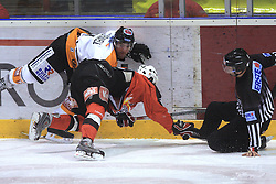 Brettt Motherwell and Ziga Jeglic crashed into referee at Erste Bank Eishockey Liga (EBEL) 2008/2009 match between HK Acroni Jesenice and Eishockeyclub Graz 99ers, on January 9, 2009, in Dvorana Podmezaklja, Jesenice, Slovenia. (Photo by Vid Ponikvar / SportIda).