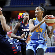 UNCASVILLE, CONNECTICUT- MAY 05:  Tamera Young #1 of the Chicago Sky in action during the Atlanta Dream Vs Chicago Sky preseason WNBA game at Mohegan Sun Arena on May 05, 2016 in Uncasville. (Photo by Tim Clayton/Corbis via Getty Images)