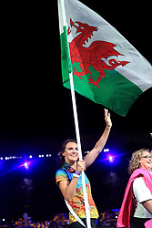 Wales' flag bearer Jazz Carlin leads out her team during the Opening Ceremony for the 2018 Commonwealth Games at the Carrara Stadium in the Gold Coast, Australia.