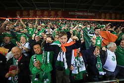 9 October 2017 -  2018 FIFA World Cup Qualifying (Group D) - Wales v Republic of Ireland - Republic of Ireland fans celebrate reaching the play-off - Photo: Marc Atkins/Offside