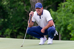 May 9, 2019 - Dallas, TX, U.S. - DALLAS, TX - MAY 09: Brooks Koepka lines up his par putt on the ninth green during the first round of the AT&T Byron Nelson on May 9, 2019 at Trinity Forest Golf Club in Dallas, TX. (Photo by Andrew Dieb/Icon Sportswire) (Credit Image: © Andrew Dieb/Icon SMI via ZUMA Press)
