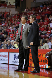 20 February 2010: Rob Judson and Tim Jankovich observe from the coaches box. The Redbirds of Illinois State bust the Eagles of Morehead State in an ESPN Bracketbuster game 71-62 on Doug Collins Court inside Redbird Arena at Normal Illinois.