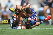 Warriors Karl Lawton is tackled in the NRL Trial, Vodafone Warriors v Wests Tigers, Rotorua Stadium, Rotorua, Sunday, March 01, 2020. Copyright photo: Kerry Marshall / www.photosport.nz