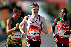 England's Tom Bosworth (centre) Kenya's Samuel Ireri Gathimba and South Africa's Wayne Snyman (left) compete in the Men's 20km Race Walk Final at Currumbin Beachfront during day four of the 2018 Commonwealth Games in the Gold Coast, Australia.