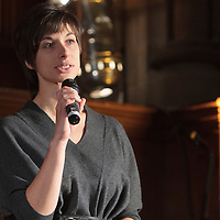 Esther O'Callahan gives an update on the success of the Thirty One Songs project at the closing event in Manchester Town Hall, Albert Square, Manchester, United Kingdom, 2013-03-03