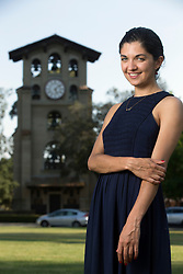 Zarlasht Halaimzai, a student in the Middlebury at Mills language program, poses for a photograph on the campus of Mills College, Tuesday, July 26, 2016, in Oakland, Calif. (Photo by D. Ross Cameron)