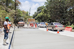 Cars continue to travel in the westbound direction.  Construction on Brookman Rd. continues.  7 August 2015.  St.Thomas, USVI.  © Aisha-Zakiya Boyd