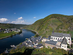 View of historic village of Beilstein and Mosel River in Mosel Valley Rhineland Germany