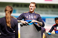 Mansfield Town defender George Taft (14)  warming up before the EFL Sky Bet League 2 match between Mansfield Town and Luton Town at the One Call Stadium, Mansfield, England on 26 August 2017. Photo by Nigel Cole.