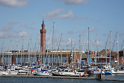 Former dock at Grimsby now converted to a Marina; with Grimsby Dock Tower in background