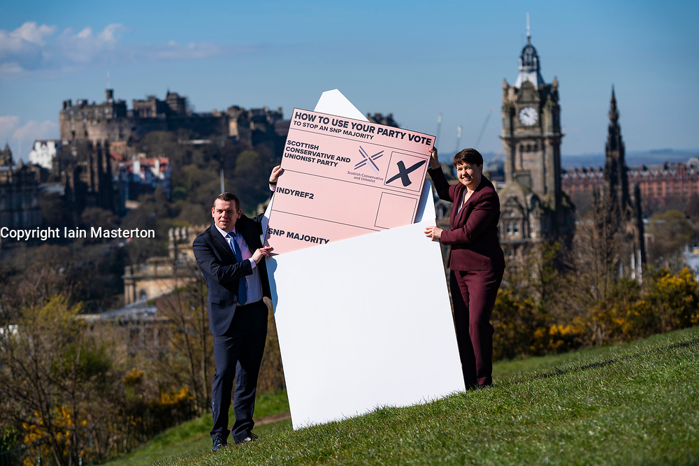 Edinburgh, Scotland, UK. 15 April 2021. Leader of Scottish Conservatives Douglas Ross and Ruth Davidson put a giant party list vote into a giant envelope on Calton Hill in Edinburgh today. Iain Masterton/Alamy Live News