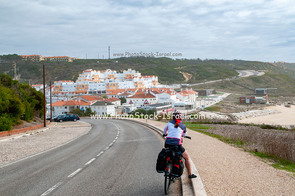 Elevated view of the city and beach of Nazare, Portugal