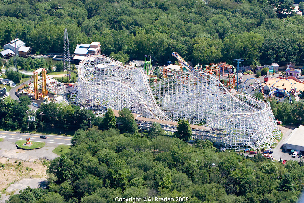 Aerial of Six Flags Amusement Park along the Connecticut River, Agawam, MA