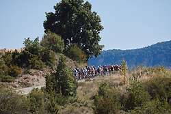 The peloton approach at the 2020 Clasica Feminas De Navarra, a 122.9 km road race starting and finishing in Pamplona, Spain on July 24, 2020. Photo by Sean Robinson/velofocus.com