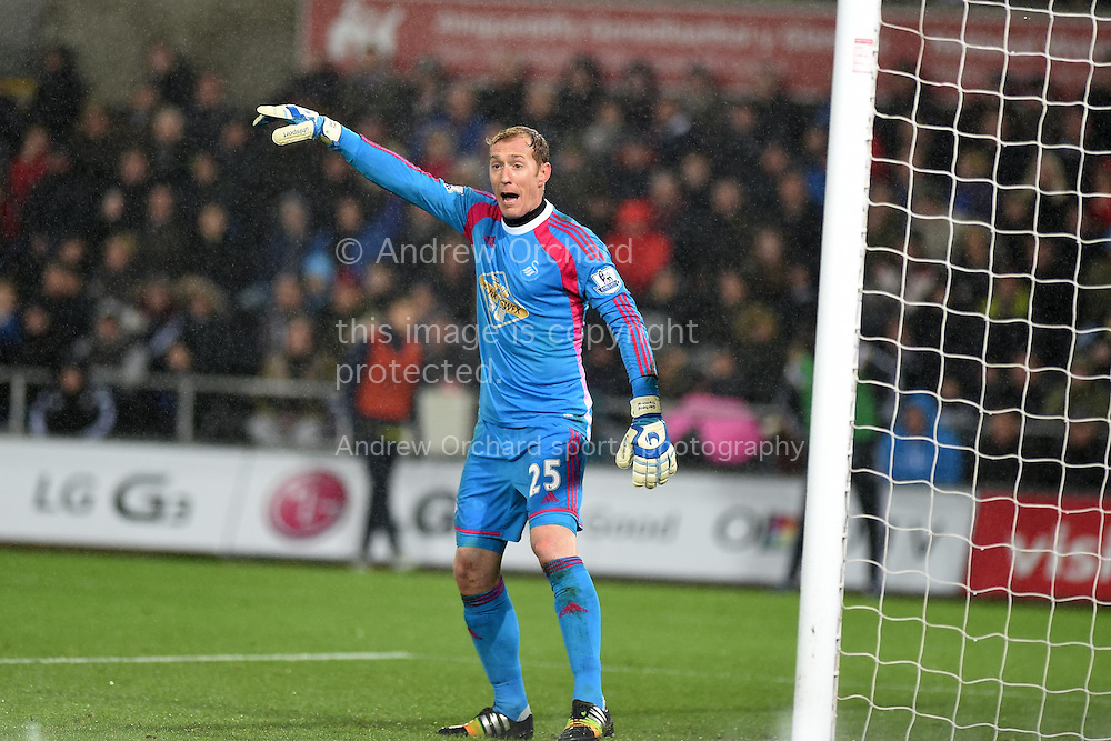 Swansea city goalkeeper Gerhard Tremmel looks on. Barclays Premier League match, Swansea city v Tottenham Hotspur at the Liberty Stadium in Swansea, South Wales on Sunday 14th December 2014<br /> pic by Andrew Orchard, Andrew Orchard sports photography.