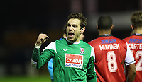 Football - 2016 / 2017 FA Cup - First Round : Stockport County v Woking <br /> <br /> <br /> Brandon Hall of Woking FC celebrates after the match at Edgeley Park.<br /> <br /> COLORSPORT/LYNNE CAMERON