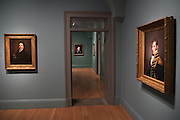 Portraits of historic figures at the National Portrait Gallery art museum, part of the Smithsonian Institution housed in the historic Old Patent Office Building in Washington, DC.