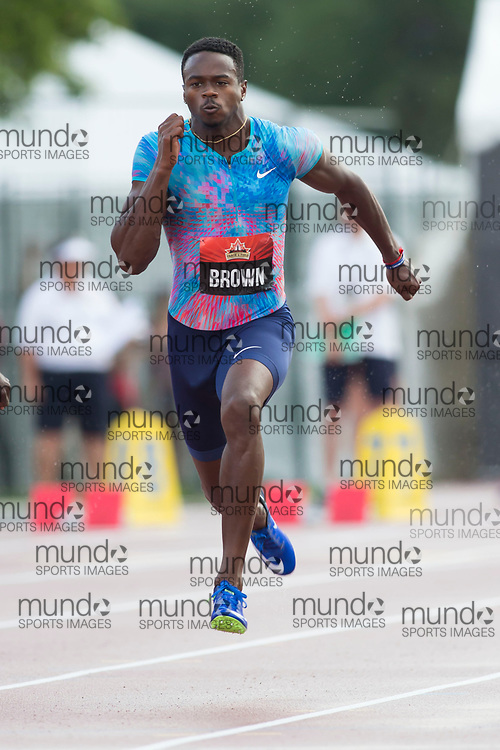 (Ottawa, Canada---07 July 2017) Aaron Brown in the 100m semi-finals at the 2017 Canadian Track and Field Championships. (Photo by Sean W Burges / Mundo Sport Images).