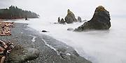 Dramatic sea stacks at Ruby Beach, Olympic National Park, Washington.