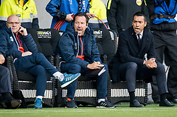 (L-R)assistant trainer Jan Wouters of Feyenoord,  assistant trainer Jean-Paul van Gastel of Feyenoord, coach Giovanni van Bronckhorst during the Dutch Eredivisie match between Heracles Almelo and Feyenoord Rotterdam at Polman stadium on September 09, 2017 in Almelo, The Netherlands