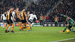 Manchester United's Paul Pogba scores his sides opening goal during the EFL Cup Semi Final, Second Leg match at the KCOM Stadium, Hull.
