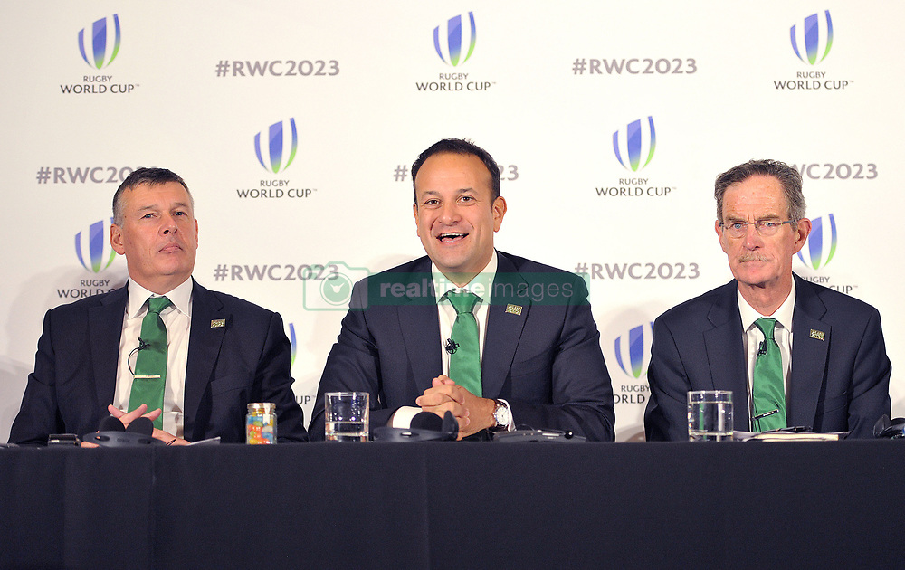 (left to right) IRFU Chief Executive Philip Brown,Taoiseach, Leo Varadkar and Dick Spring Chairman, Ireland 2023 Oversight Board, during the 2023 Rugby World Cup host candidates presentations at the Royal Garden Hotel in London, where they are bidding to host the event against France and South Africa.