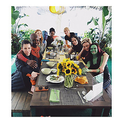 """Zoe Saldana releases a photo on Instagram with the following caption: """"Superhero\u2019s who lunch. \n@avengers \n@marvelstudios"""". Photo Credit: Instagram *** No USA Distribution *** For Editorial Use Only *** Not to be Published in Books or Photo Books ***  Please note: Fees charged by the agency are for the agency's services only, and do not, nor are they intended to, convey to the user any ownership of Copyright or License in the material. The agency does not claim any ownership including but not limited to Copyright or License in the attached material. By publishing this material you expressly agree to indemnify and to hold the agency and its directors, shareholders and employees harmless from any loss, claims, damages, demands, expenses (including legal fees), or any causes of action or allegation against the agency arising out of or connected in any way with publication of the material."""