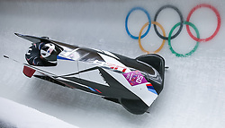 16-02-2014 BOBSLEE: OLYMPIC GAMES: SOTSJI<br /> Cory Butner and Christopher Fogt Bob United States 2 of the USA during Heat 2 of Two-man Bobsleigh of the Olympic Winter Games Sochi 2014 at the Sliding Center Sanki<br /> ©2014-FotoHoogendoorn.nl