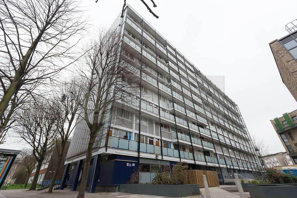 © Licensed to London News Pictures. 13/04/2018. London, UK. A general view of Galleon House, Manchester Road on the Isle of Dogs in Tower Hamlets. A man in his 30's was found injured from a stab wound yesterday morning and died at the scene. A woman, Alex Glanfield-Collis, of Manchester Road has been charged with murder, to appear at Thames Magistrates Court this morning. Photo credit: Vickie Flores/LNP