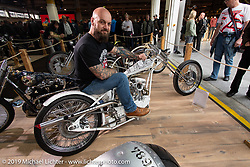 Custom bike builder Arnaud MARY of France with his custom 1986 Harley-Davidson XL 1200 Sportster digger in the Swiss-Moto Customizing and Tuning Show. Zurich, Switzerland. Friday, February 22, 2019. Photography ©2019 Michael Lichter.