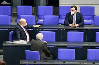11 FEB 2021, BERLIN/GERMANY:<br /> Peter Altmeier (L), CDU, Bundeswirtschaftsminister, Horst Seehofer (M), CSU, Bundesinnenminister, und Jens Spahn (R), CDU, Bundesgesundheitsminister, im Gespraech, vor Beginn der Regierungserklaerung der Bundeskanzlerin zur Bewaeltigung der Corvid-19-Pandemie, Plenum, Reichstagsgebaeude, Deutscher Bundestag<br /> IMAGE: 20210211-01-007<br /> KEYWORDS: Corona, Gespräch, Mundschutz, Maske