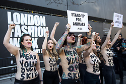 "© Licensed to London News Pictures. 16/02/2018. London, UK. PETA demonstrators protest against the use of animal products at London Fashion Week. They have the slogan ""Wear Your Own Skin"" painted across their bodies. Photo credit : Tom Nicholson/LNP ** CAPTION CORRECTION**<br />