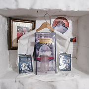 Carved into the walls of the utility tunnels below the South Pole are niches that contain artworks created by Polies, including Buzz Aldrin's Tissue. Buzz came to the South Pole but had a difficult time with the altitude and had to be medivaced back to McMurdo. Apparently he sneezed into a tissue while here, which was reverently saved, and is now the centerpiece of the Buzz Aldrin Tissue shrine.