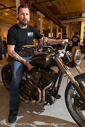 Chris Moos of Misfit Industries at the In Motion invitational bike show at the Lone Star Rally. Galveston, TX. USA. Friday November 3, 2017. Photography ©2017 Michael Lichter.