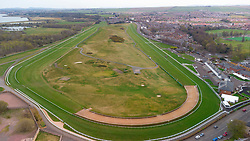 Aerial view from drone of Musselburgh Racecourse and historic Musselburgh Links golf course , East Lothian, Scotland, UK